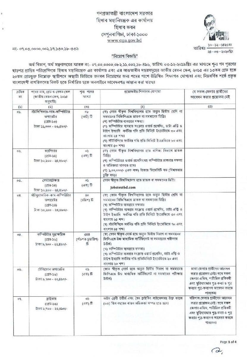 Office of the Controller General of Accounts Job Circular 2020 2